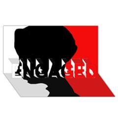 Man ENGAGED 3D Greeting Card (8x4)