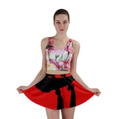 Red and black abstraction Mini Skirt
