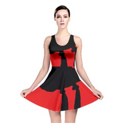 Red and black abstraction Reversible Skater Dress