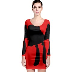 Red and black abstraction Long Sleeve Bodycon Dress