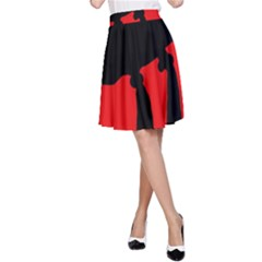Red and black abstraction A-Line Skirt