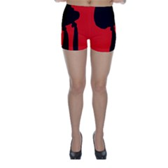 Red and black abstraction Skinny Shorts