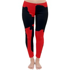 Red and black abstraction Winter Leggings