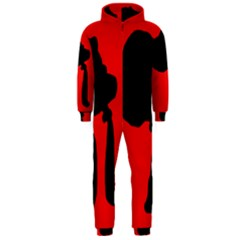 Red and black abstraction Hooded Jumpsuit (Men)