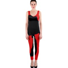 Red and black abstraction OnePiece Catsuit