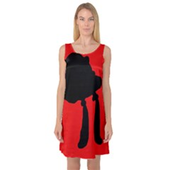 Red and black abstraction Sleeveless Satin Nightdress