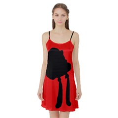 Red and black abstraction Satin Night Slip