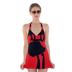 Red And Black Abstraction Halter Swimsuit Dress