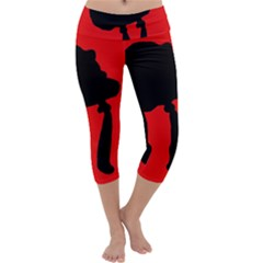 Red and black abstraction Capri Yoga Leggings
