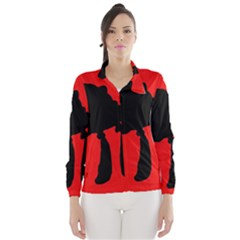 Red and black abstraction Wind Breaker (Women)