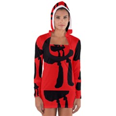 Red and black abstraction Women s Long Sleeve Hooded T-shirt