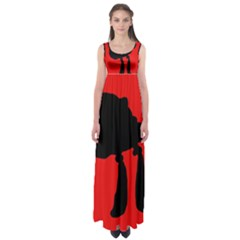Red and black abstraction Empire Waist Maxi Dress