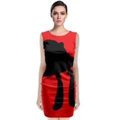 Red and black abstraction Classic Sleeveless Midi Dress
