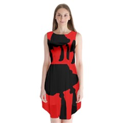 Red and black abstraction Sleeveless Chiffon Dress