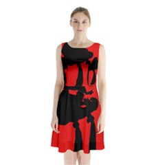 Red and black abstraction Sleeveless Waist Tie Dress
