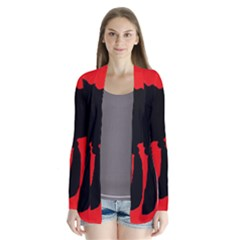 Red and black abstraction Drape Collar Cardigan