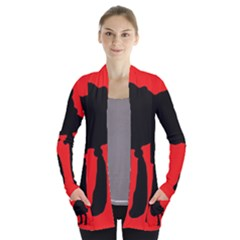 Red and black abstraction Women s Open Front Pockets Cardigan(P194)