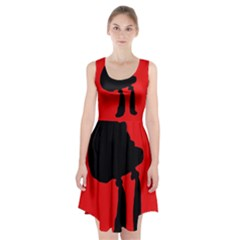 Red and black abstraction Racerback Midi Dress