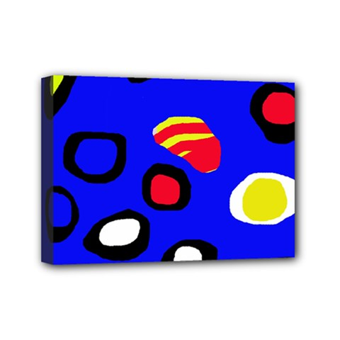 Blue pattern abstraction Mini Canvas 7  x 5