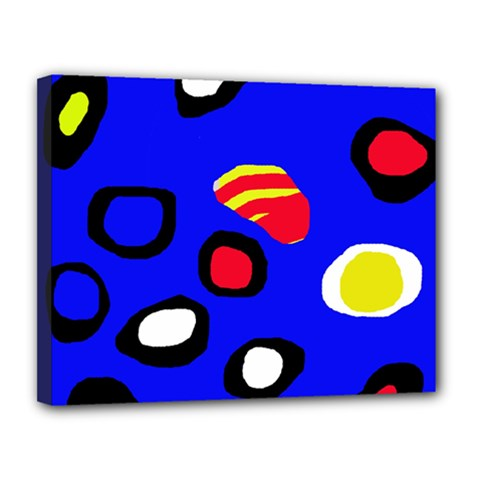 Blue pattern abstraction Canvas 14  x 11