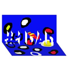 Blue pattern abstraction #1 DAD 3D Greeting Card (8x4)