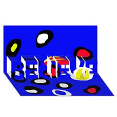 Blue pattern abstraction BELIEVE 3D Greeting Card (8x4)