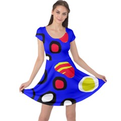 Blue pattern abstraction Cap Sleeve Dresses