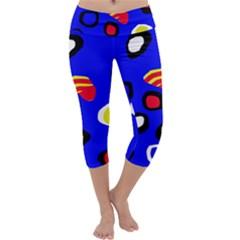 Blue pattern abstraction Capri Yoga Leggings