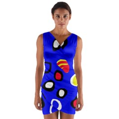 Blue pattern abstraction Wrap Front Bodycon Dress