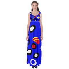 Blue Pattern Abstraction Empire Waist Maxi Dress