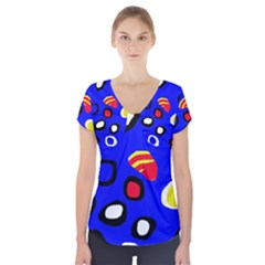 Blue Pattern Abstraction Short Sleeve Front Detail Top