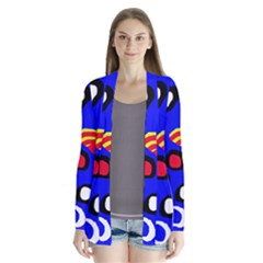 Blue pattern abstraction Drape Collar Cardigan
