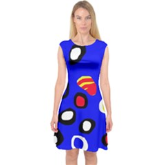Blue Pattern Abstraction Capsleeve Midi Dress