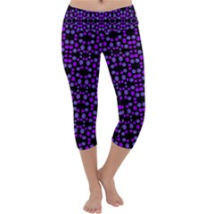 Dots Pattern Purple Capri Yoga Leggings