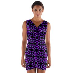 Dots Pattern Purple Wrap Front Bodycon Dress