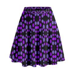 Dots Pattern Purple High Waist Skirt