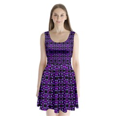 Dots Pattern Purple Split Back Mini Dress