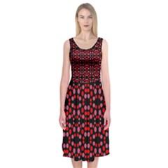 Dots Pattern Red Midi Sleeveless Dress