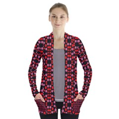 Dots Pattern Red Women s Open Front Pockets Cardigan(p194)