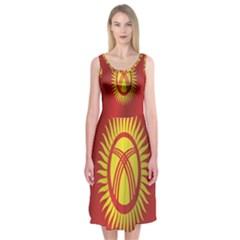 Flag Of Kyrgyzstan Midi Sleeveless Dress