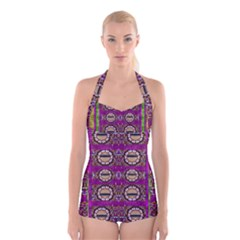 Rainbow Love For The Nature And Sunset In Calm And Steady State Boyleg Halter Swimsuit