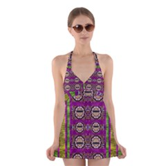 Rainbow Love For The Nature And Sunset In Calm And Steady State Halter Swimsuit Dress