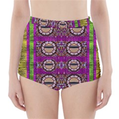 Rainbow Love For The Nature And Sunset In Calm And Steady State High-Waisted Bikini Bottoms