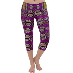 Rainbow Love For The Nature And Sunset In Calm And Steady State Capri Yoga Leggings