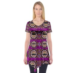 Rainbow Love For The Nature And Sunset In Calm And Steady State Short Sleeve Tunic