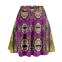Rainbow Love For The Nature And Sunset In Calm And Steady State High Waist Skirt