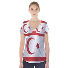 Flag Of Northern Cyprus Short Sleeve Front Detail Top