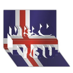 Flag Of Iceland Miss You 3D Greeting Card (7x5)