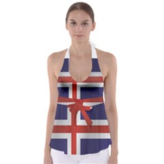 Flag Of Iceland Babydoll Tankini Top