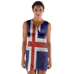 Flag Of Iceland Wrap Front Bodycon Dress